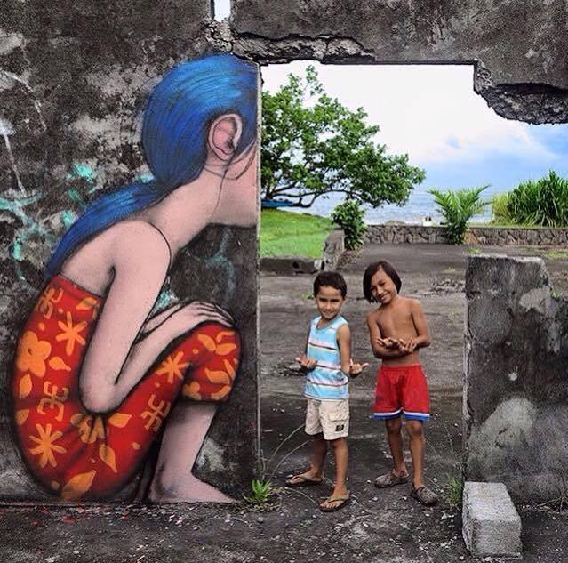 child creative street art work