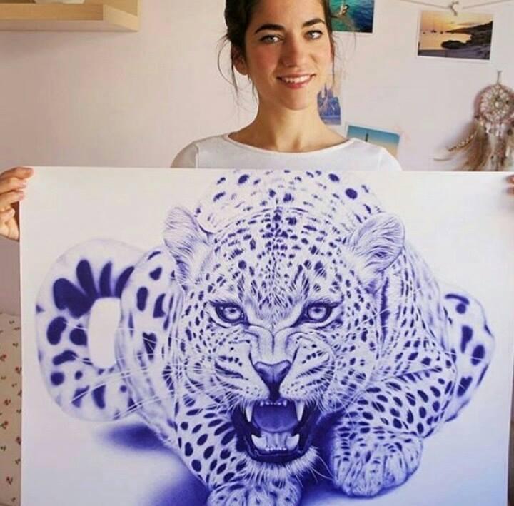 cheetah pen drawing