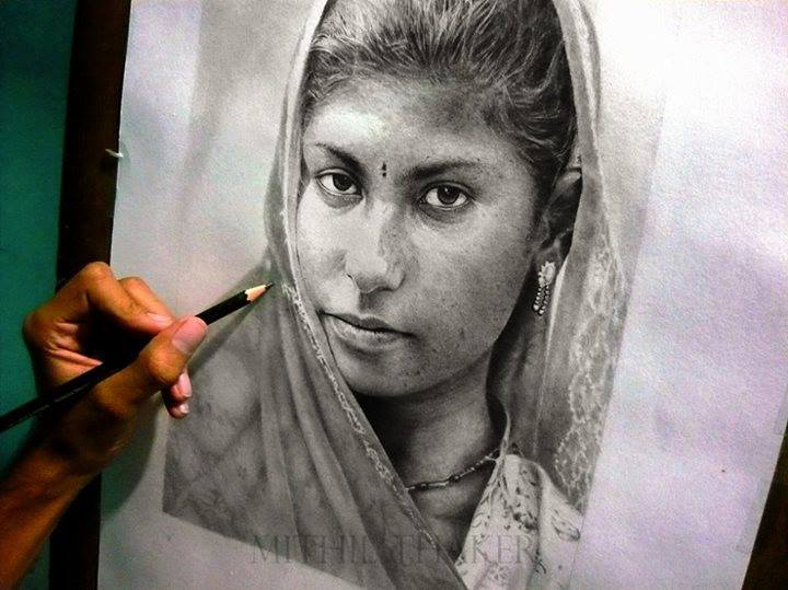 girl pencil drawing by mithil thaker