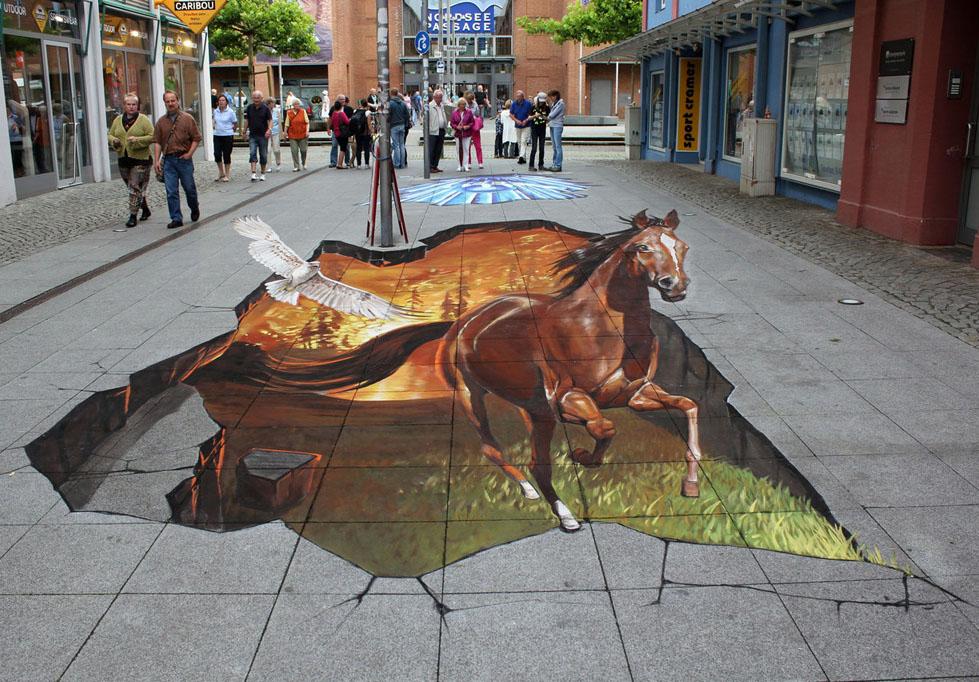 3d horse street art nikolaj