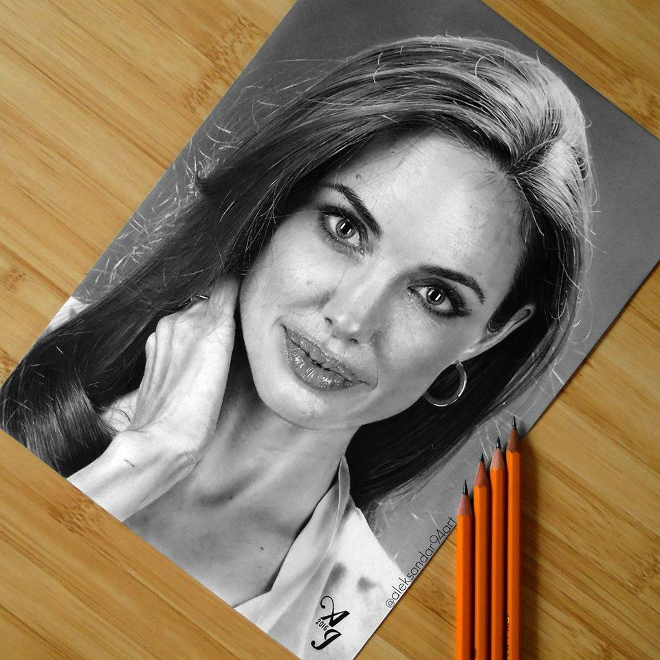 Angelina jolie realistic pencil drawing by aleksandar