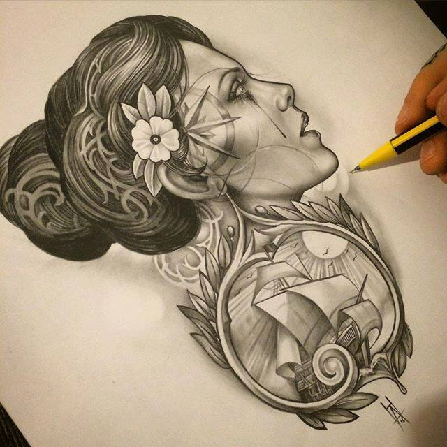 Surreal Drawing by Dancock Tattoo