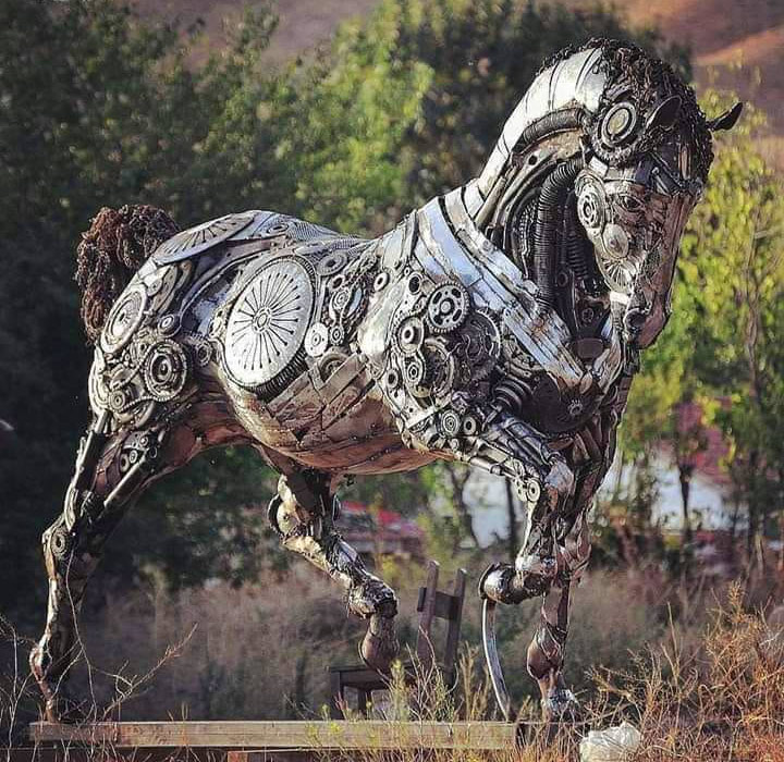 scrap metal sculpture horse by cem ozkan