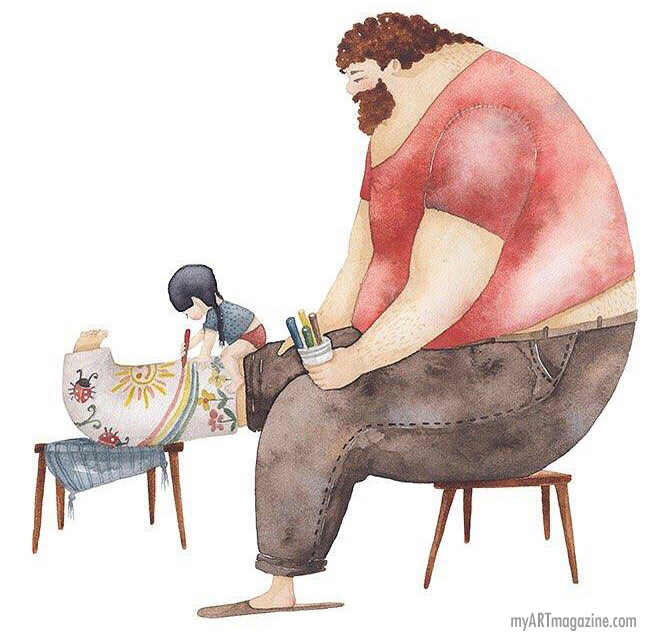 watercolor painting father kid