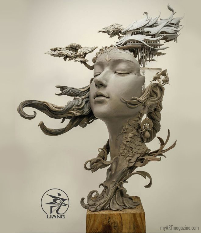 clay sculpture fantasy woman by yuanxing liang