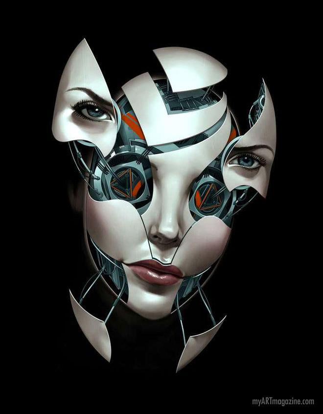 digital art face robot