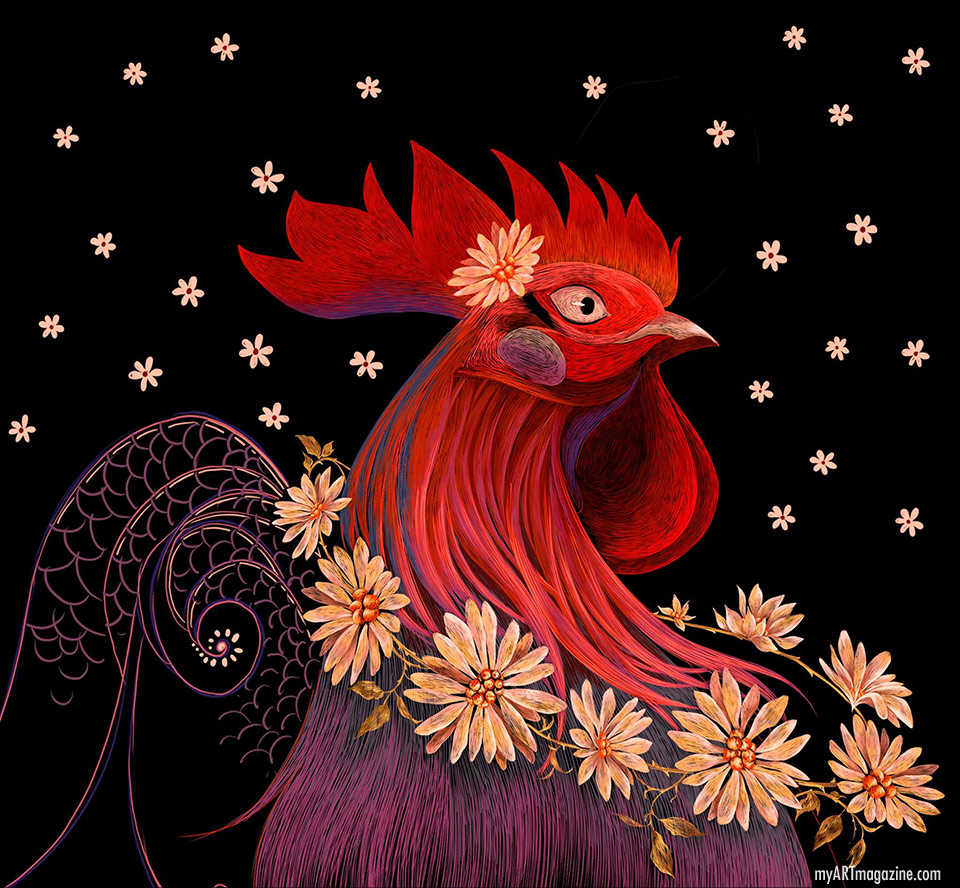 digital illustration rooster
