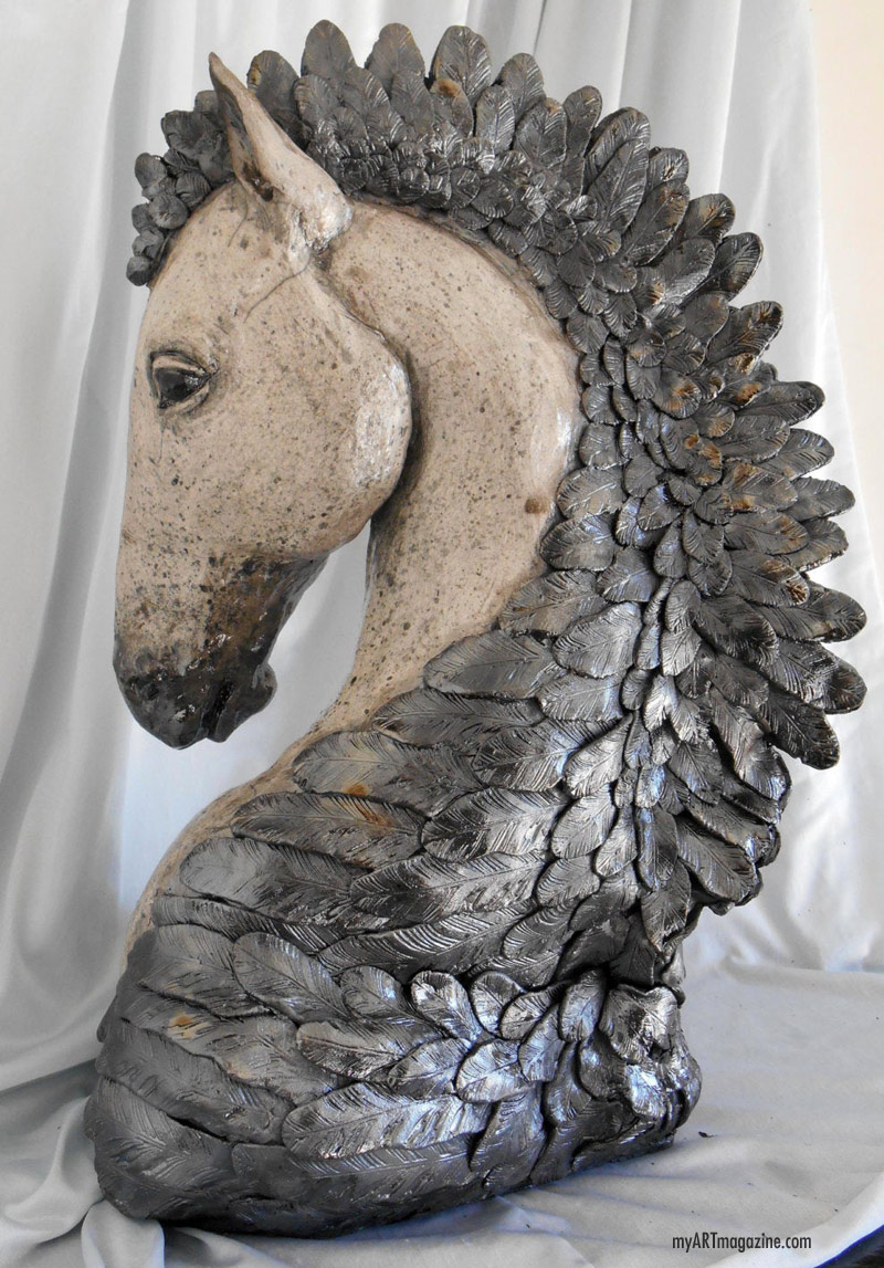 horse sculpture bust by leslie ahrens