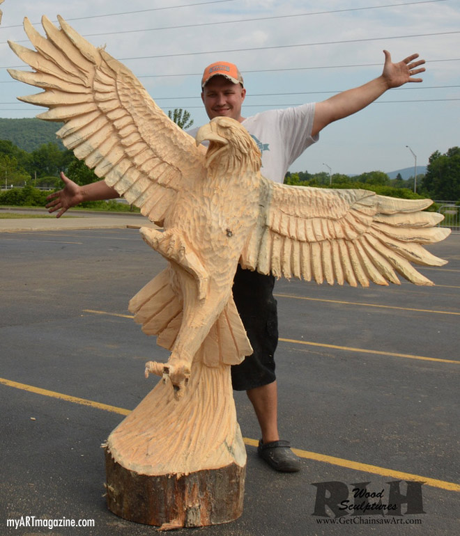 wood carving sculpture eagle