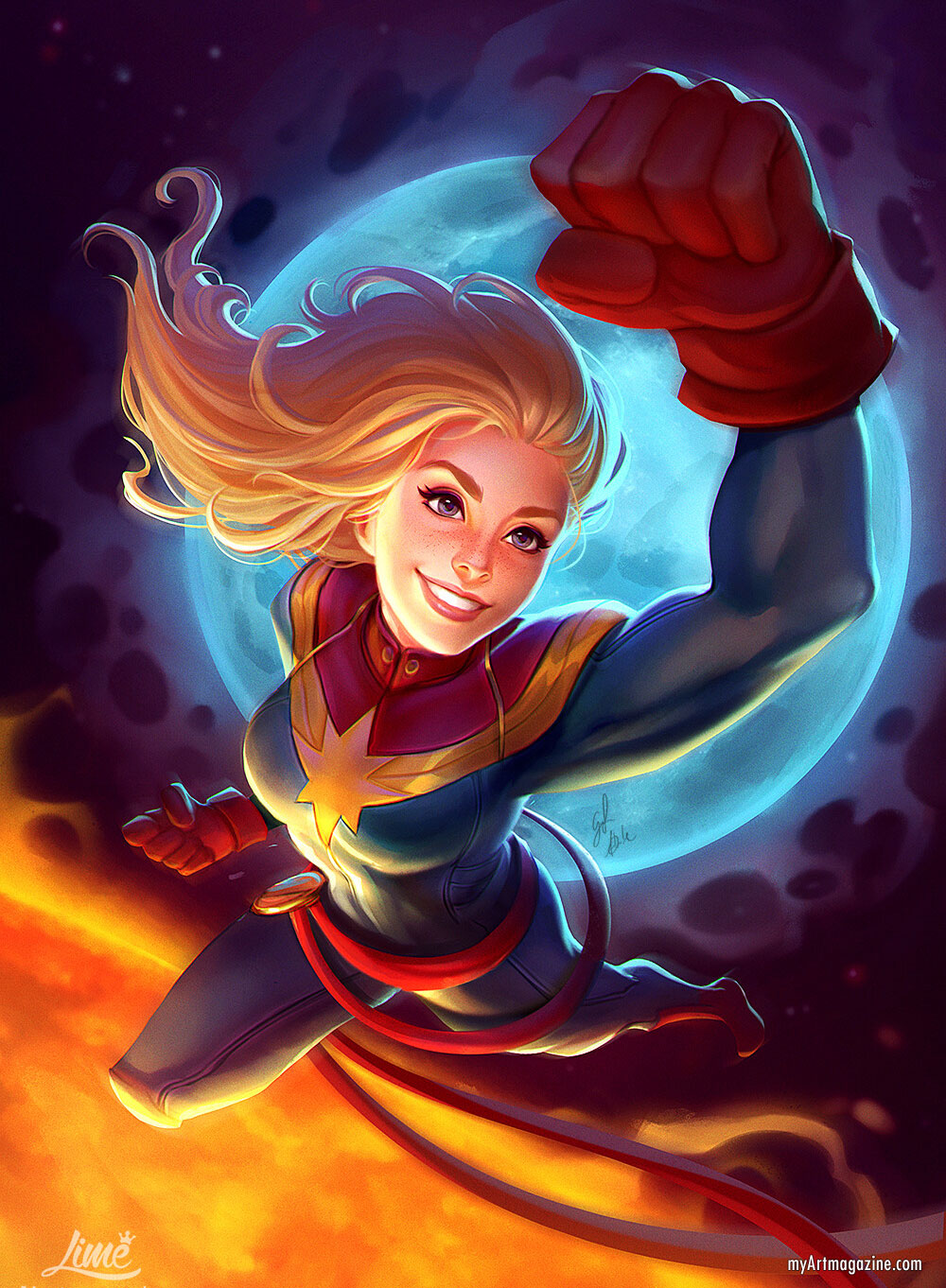 digital painting captain marvel by limetown studios
