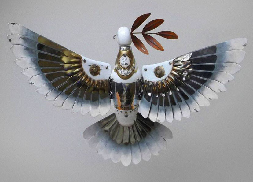 bird leaf scrap sculptures igor