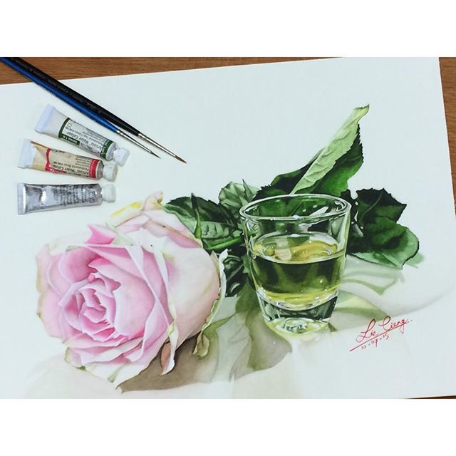 beautiful rose painting by tan lie cieng