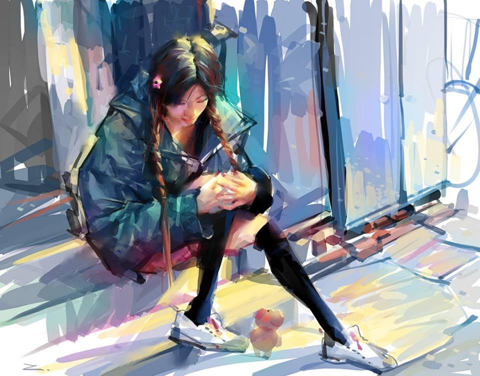 woman digital illustration by zhuzhu