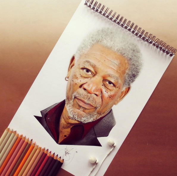 morgan freeman color pencil drawings by santiago