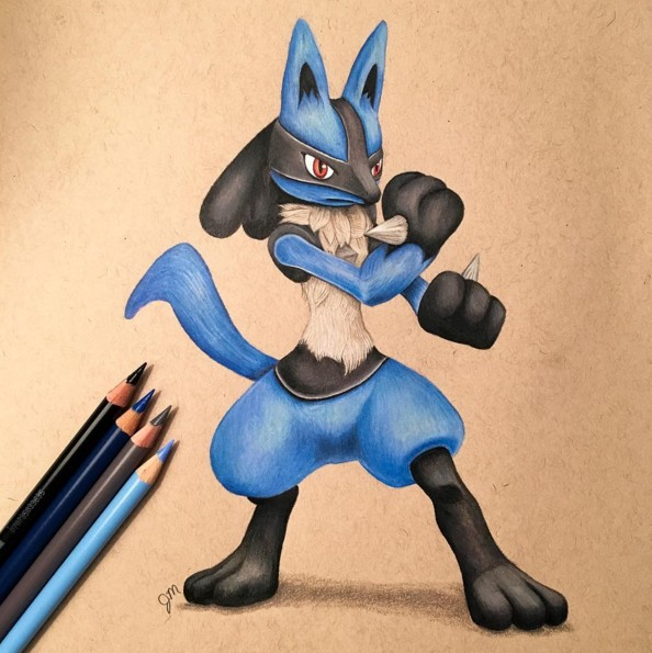 11 bros lucario color pencil drawing by julianna maston