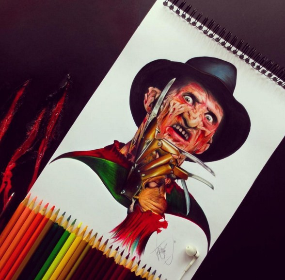 freddy krueger color pencil drawings by santiago