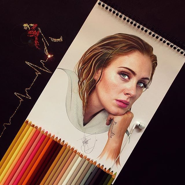 12 adele color pencil drawings by santiago
