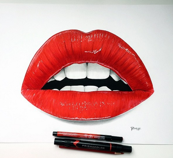 realistic lips drawing by roman