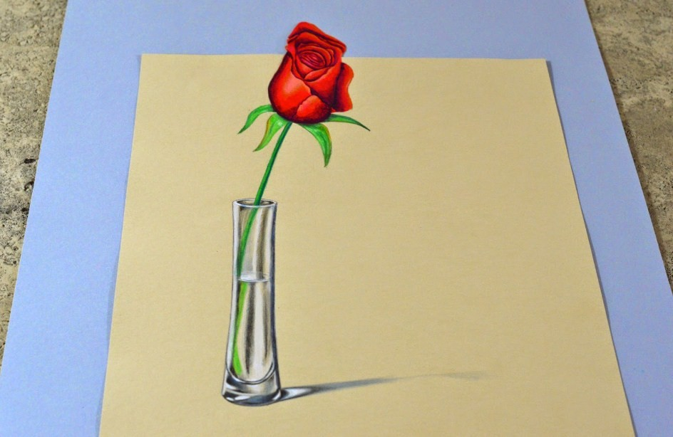 rose 3d drawings by leonardo pereznieto