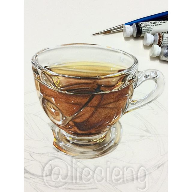 cup realistic painting by tan lie cieng