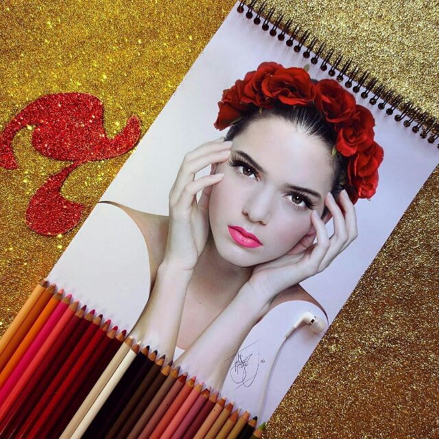 kendall jenner color pencil drawings by santiago