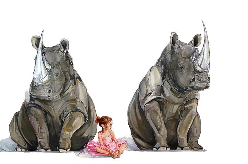 rhinos paintings by mckenzie fisk