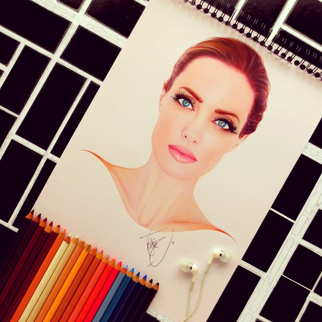 angelina jolie color pencil drawings by santiago
