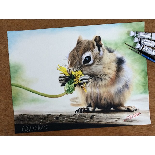 beautiful squirrel painting by tan lie cieng