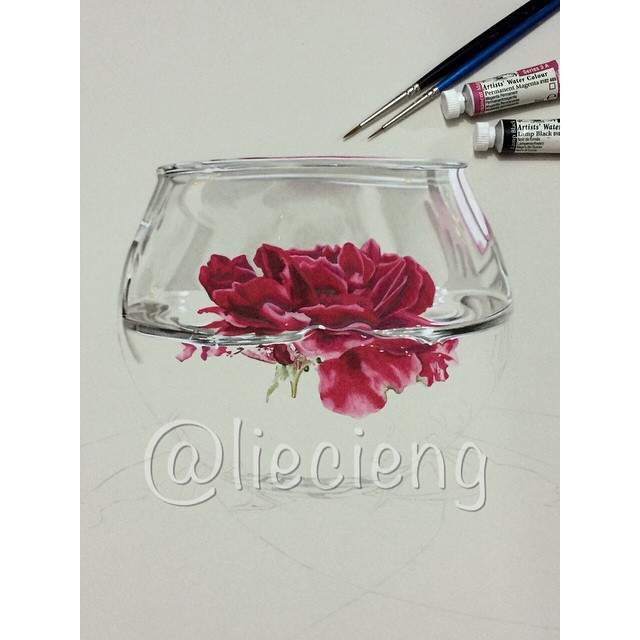 glass realistic painting by tan lie cieng