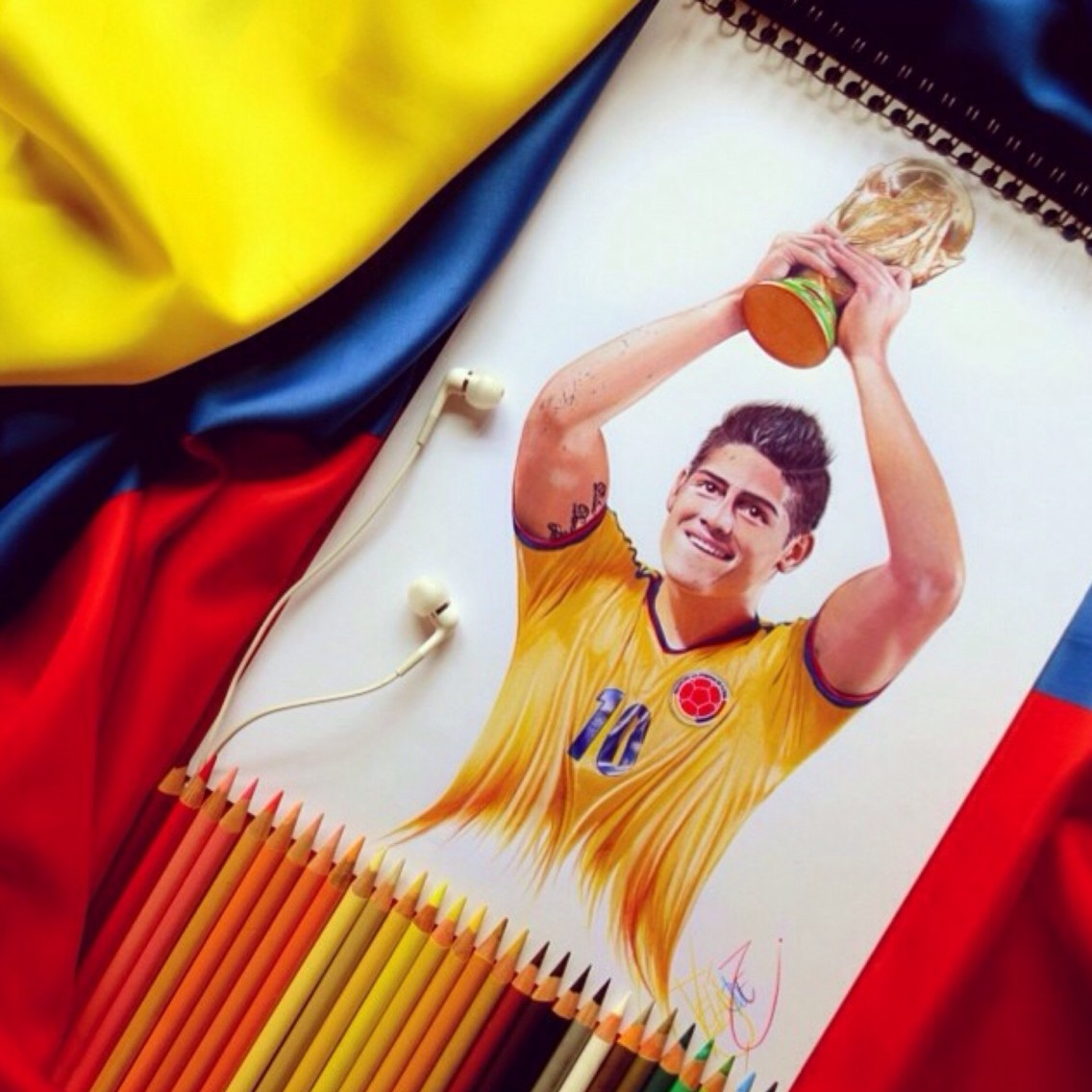 james rodriguez color pencil drawings by santiago