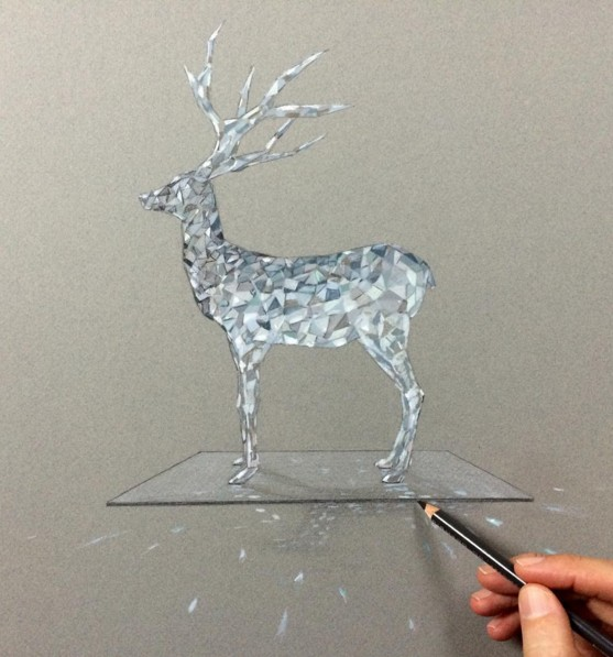 deer 3d drawings by leonardo pereznieto