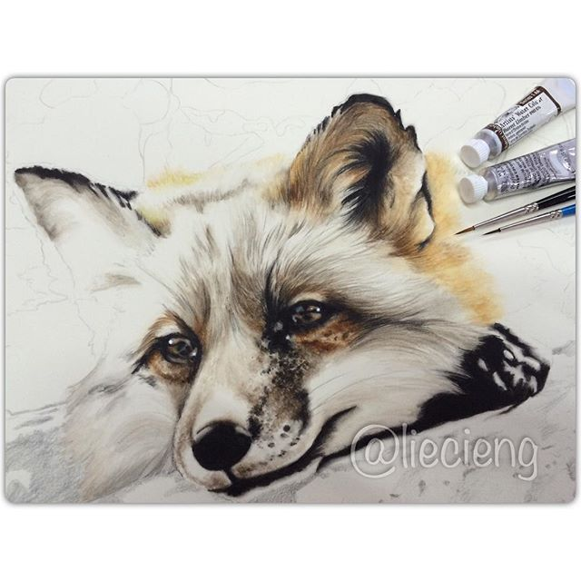 dog realistic painting by tan lie cieng