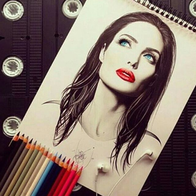 20 angelina jolie color pencil drawings by santiago
