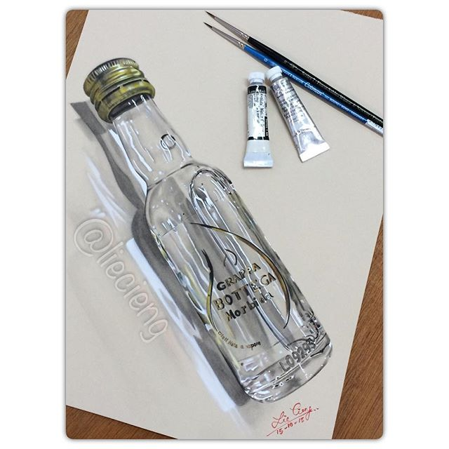 bottle realistic painting by tan lie cieng