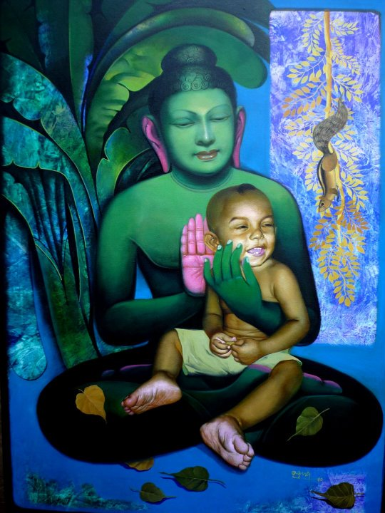 buddha acrylic paintings by raghunath sahoo