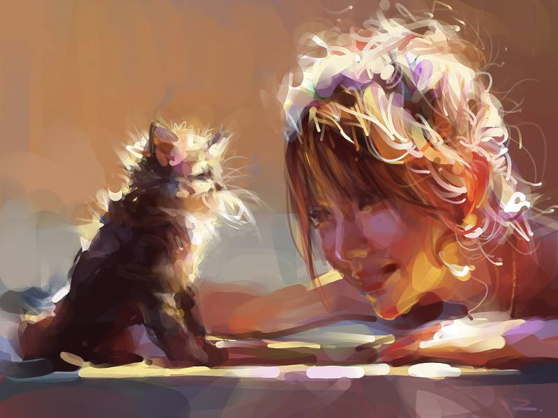 child cat digital illustration by zhuzhu
