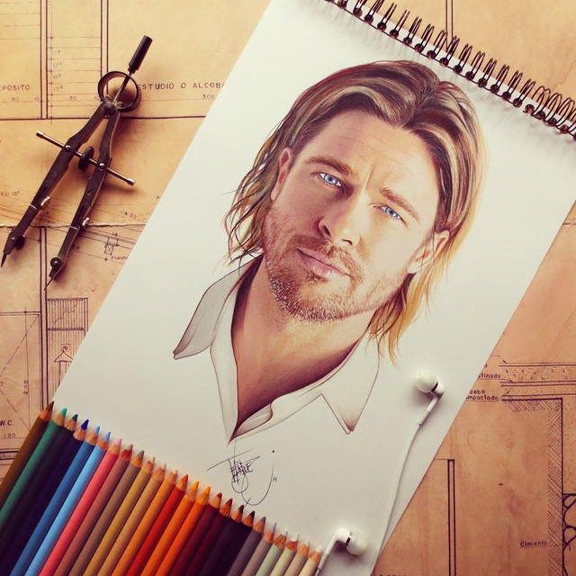 brad pitt color pencil drawings by santiago