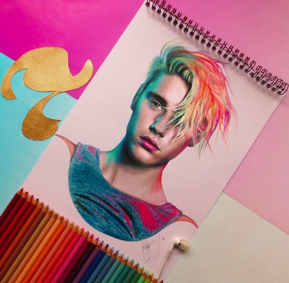 justin bieber color pencil drawings by santiago