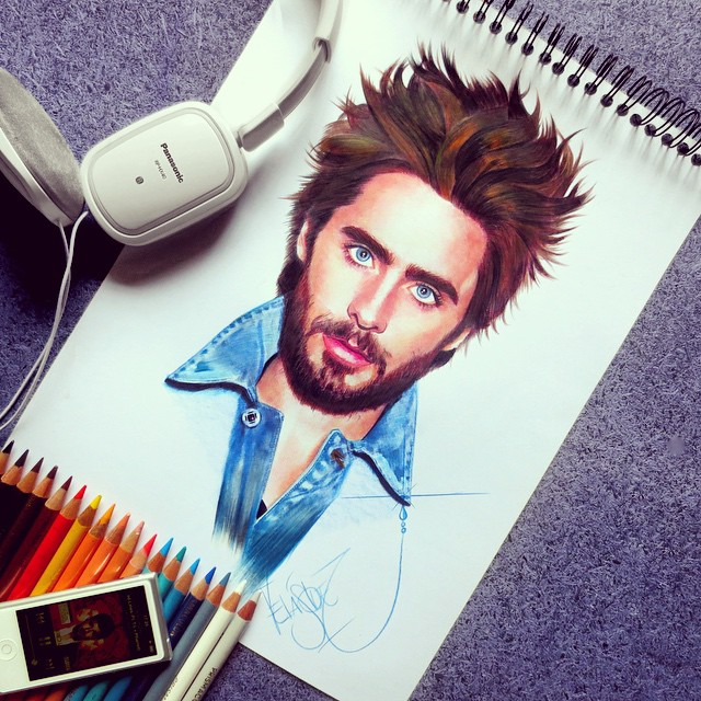 jared leto color pencil drawings by santiago
