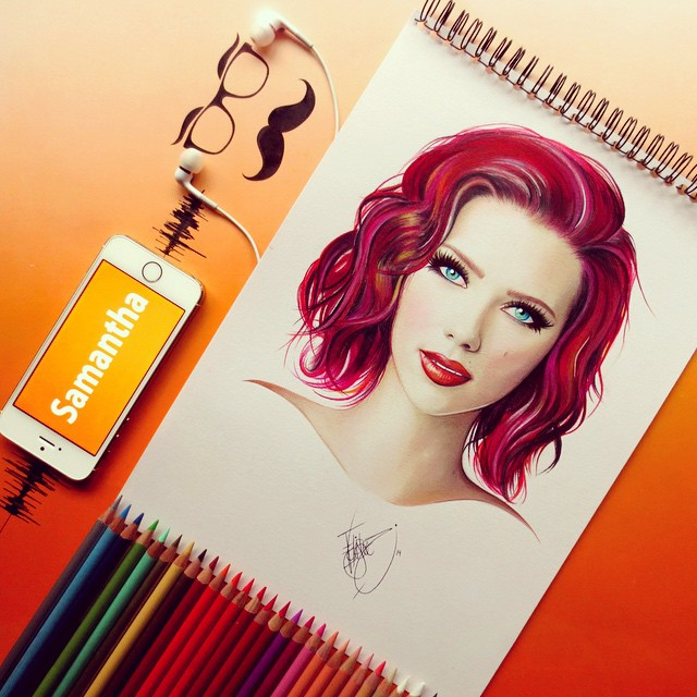 samantha color pencil drawings by santiago