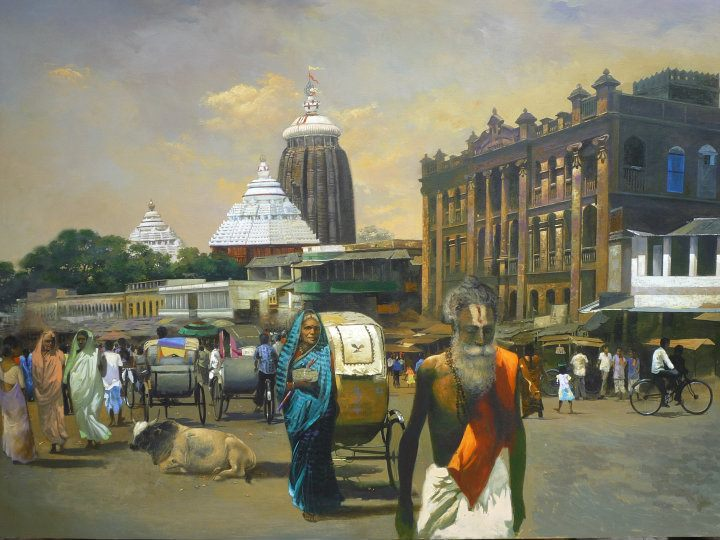 7 temple acrylic paintings by raghunath sahoo