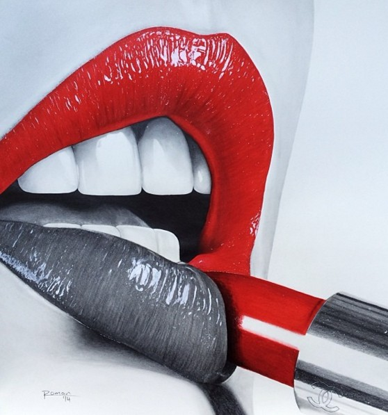 realistic lips color pencil drawing by roman