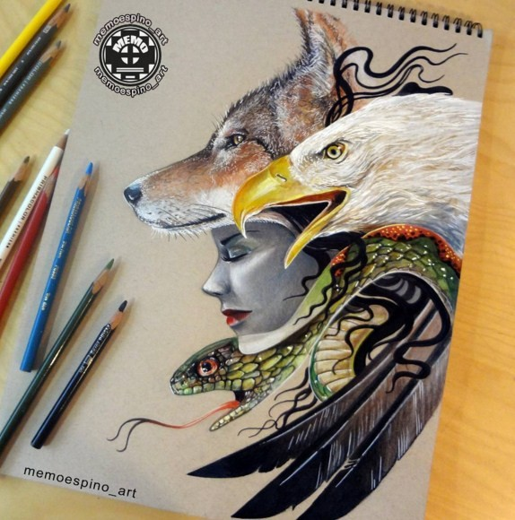 color pencil drawing by memo espino