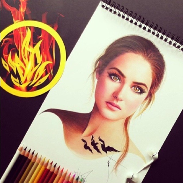 9 divergent tris color pencil drawings by santiago
