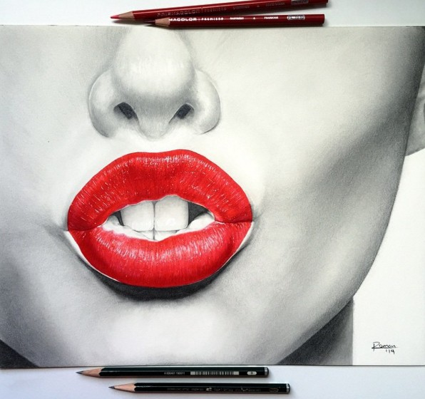 realistic lip drawing by roman