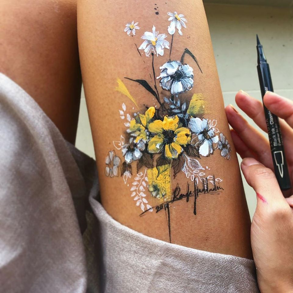 ink drawing thigh flowers randa haddadin