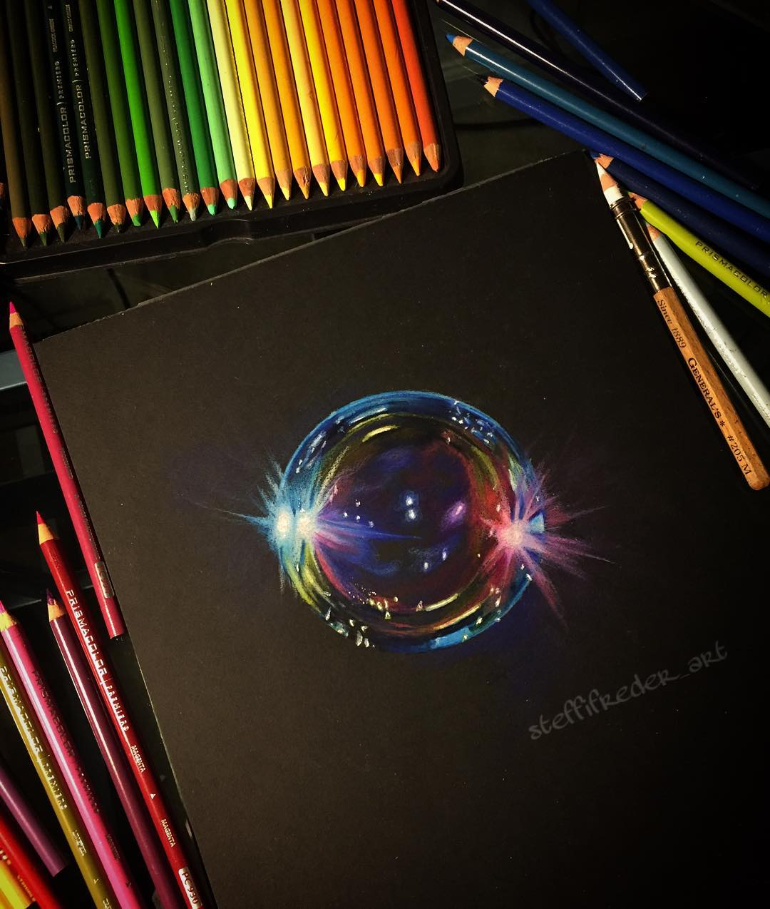 realistic color pencil drawing soap bubble by stephanie frederick