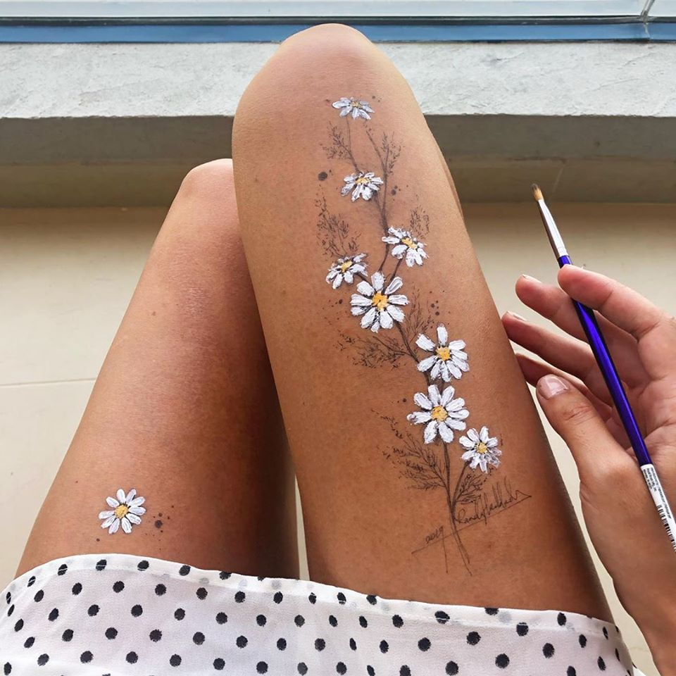 ink drawing thigh white flowers randa haddadin
