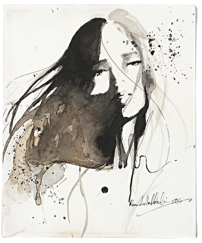 ink drawing idea woman randa haddadin