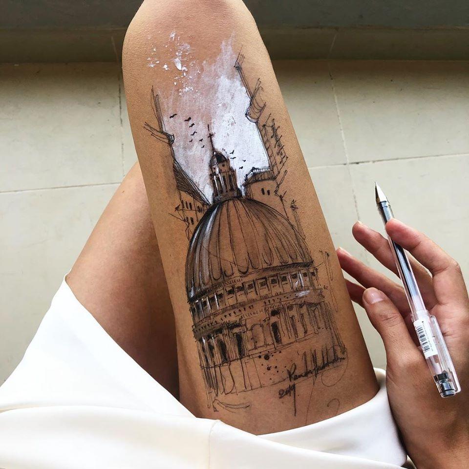 ink drawing thigh dome randa haddadin